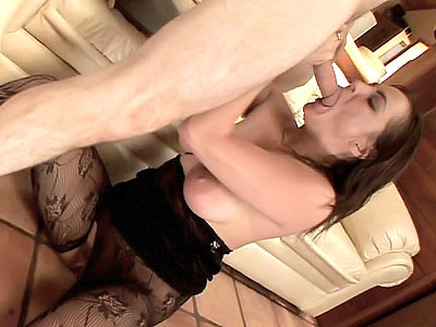 nylon stocking Hottie Draining a Dick