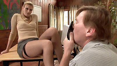 Blonde in stockings Teasing a Cock
